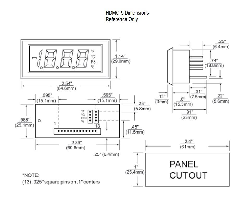 HDMO-5 Dimensional Drawing