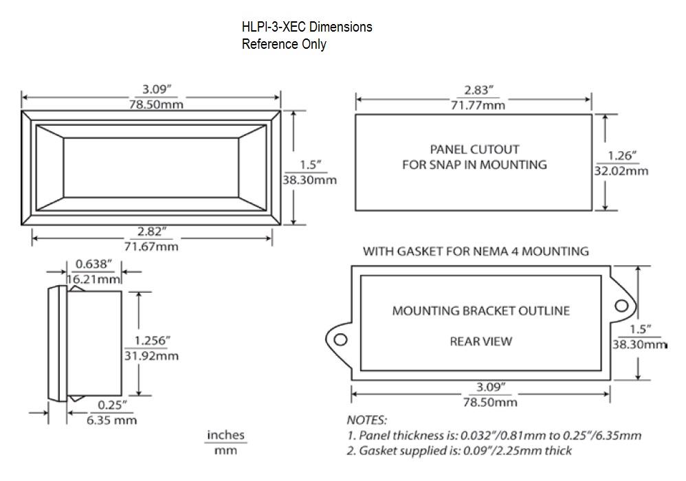 HLPI-3X Dimensional Drawing