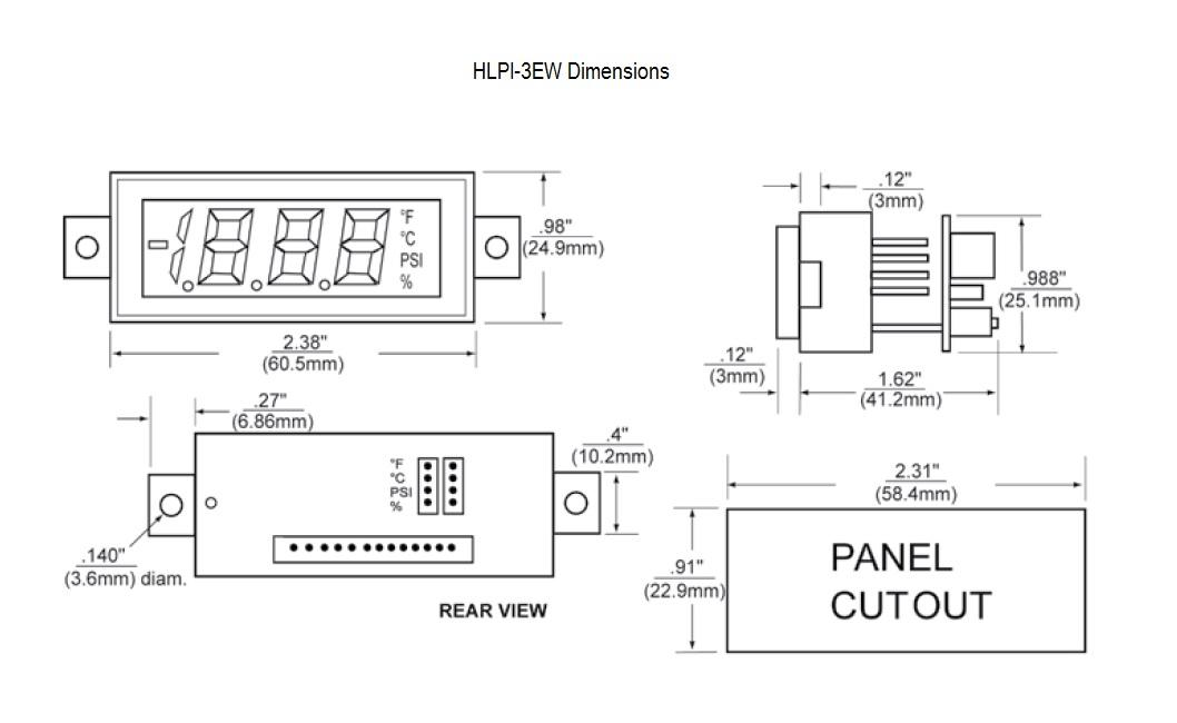 HLPI-3EW Dimensional Drawing