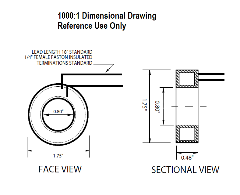 1000:1 CT Dimensional Drawing