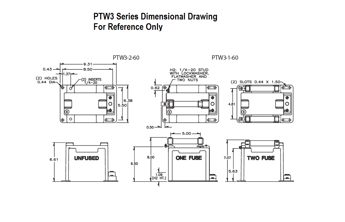 PTW3 Dimensional Drawing