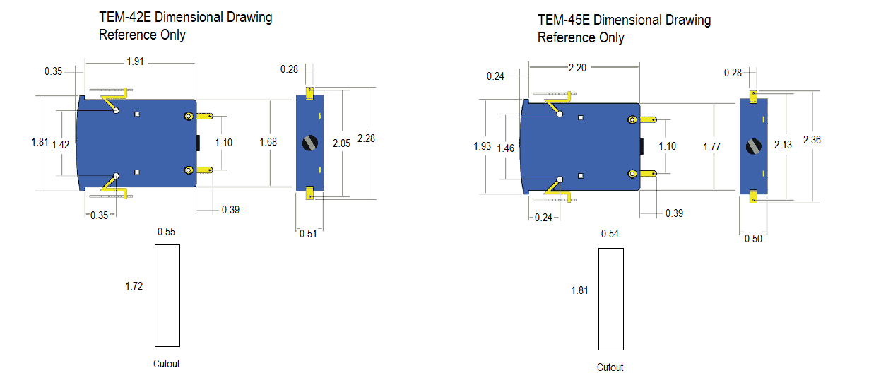 TEM-42E and TEM-45E Dimensional Drawing