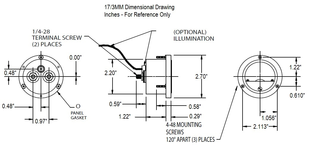 17/3MM Dimensional Drawing
