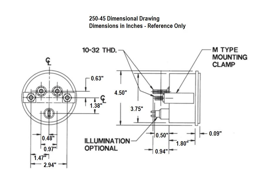 250-45 Dimensional Drawing