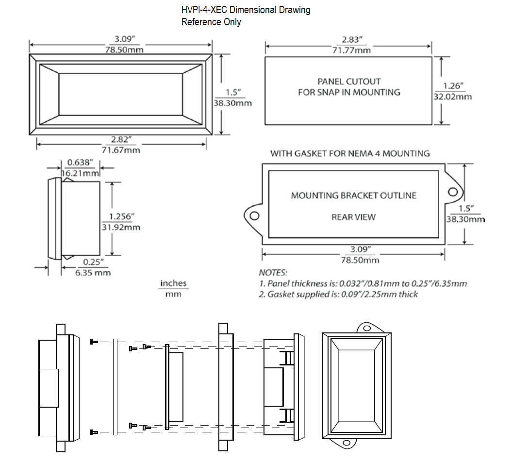 HVPI-4-XEC Dimensional Drawing