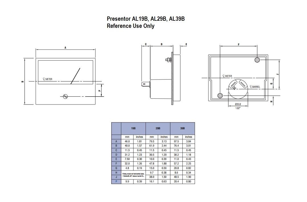 Presentor AL19B, AL29B, AL39B Dimensions