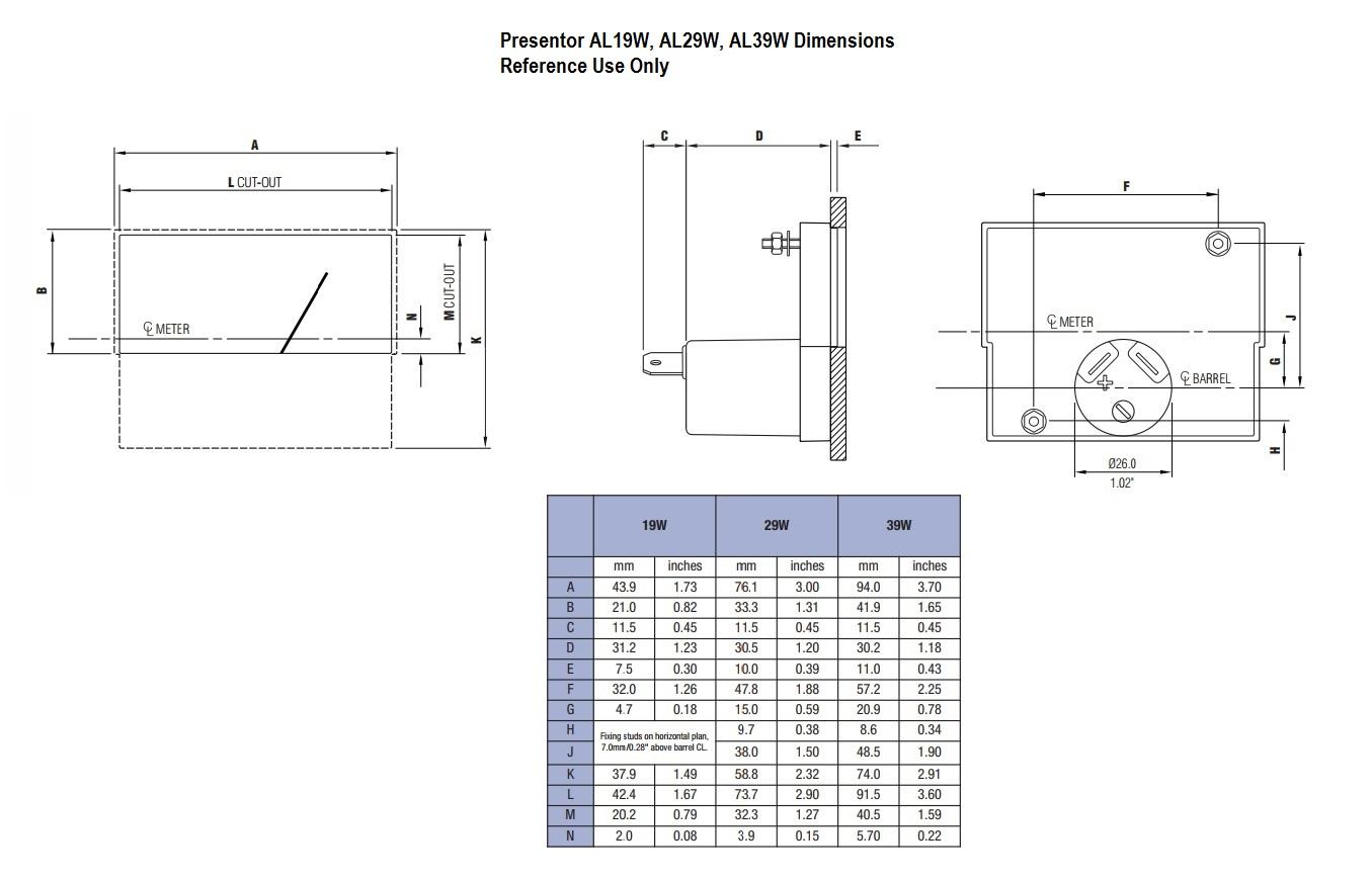 Presentor AL19W, AL29W, AL39W Dimensions