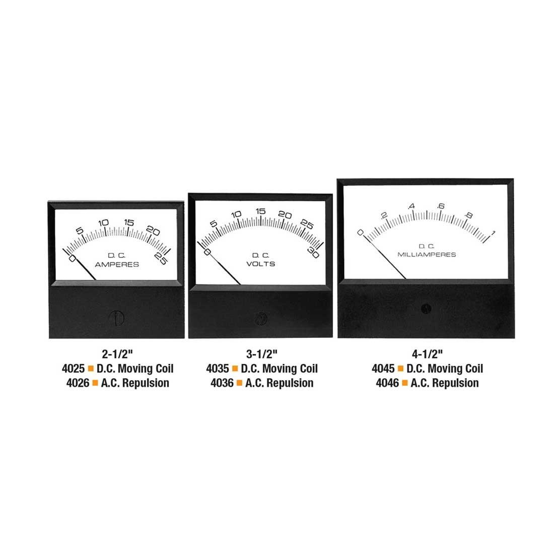 4045 DC Analog Panel Meter - Front View