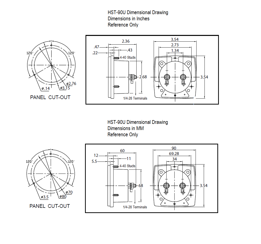 HST-90U Dimensional Drawing