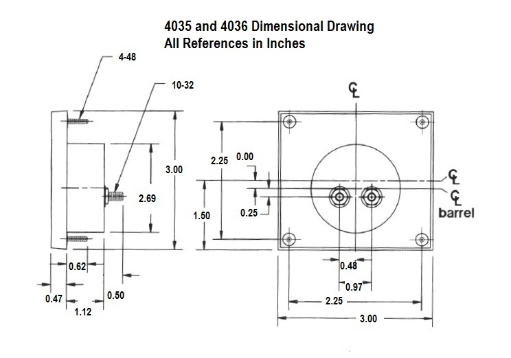 Dimensional Drawing: 4035 and 4036