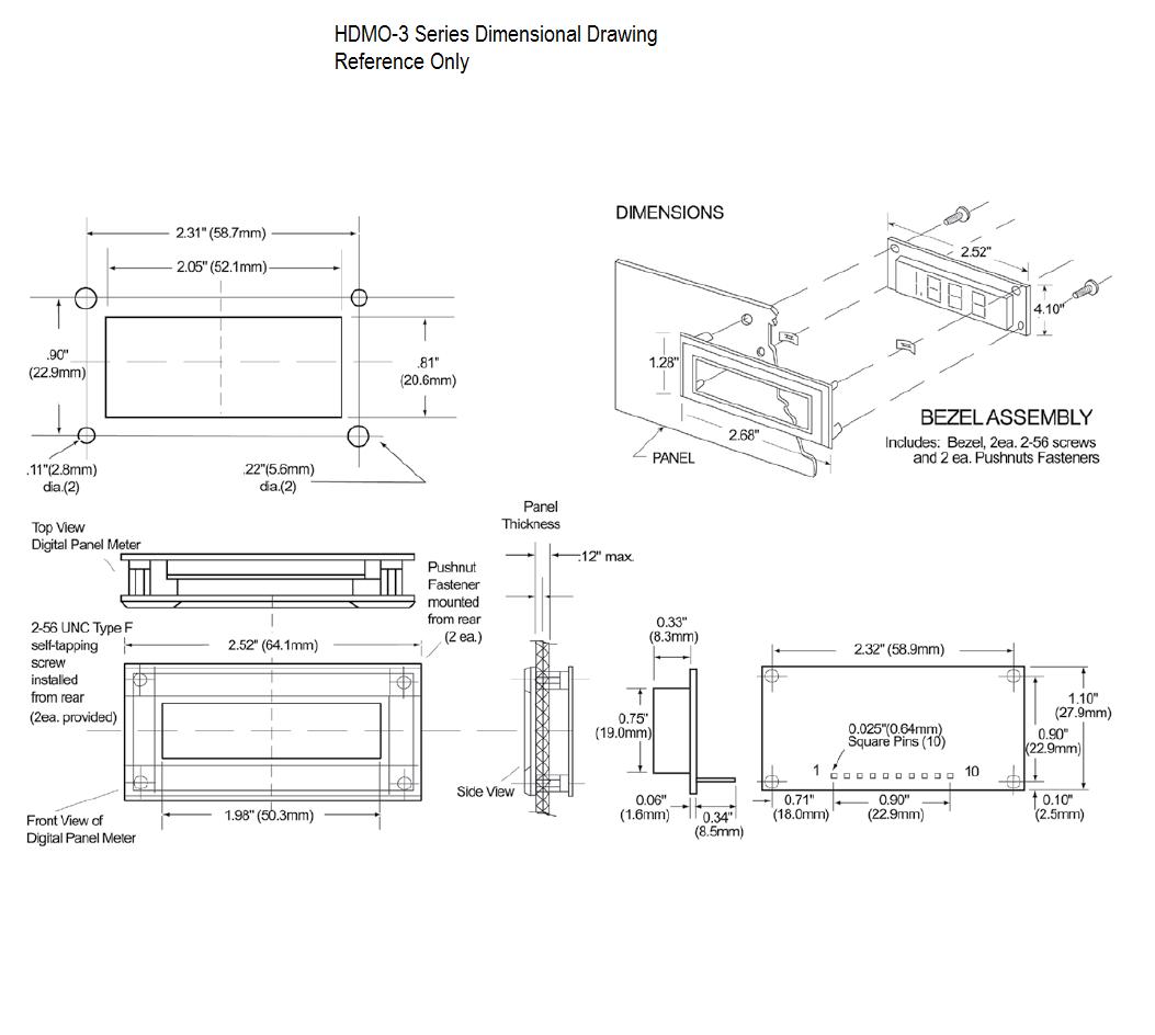 Dimensional Drawing HDMO-3xx Series