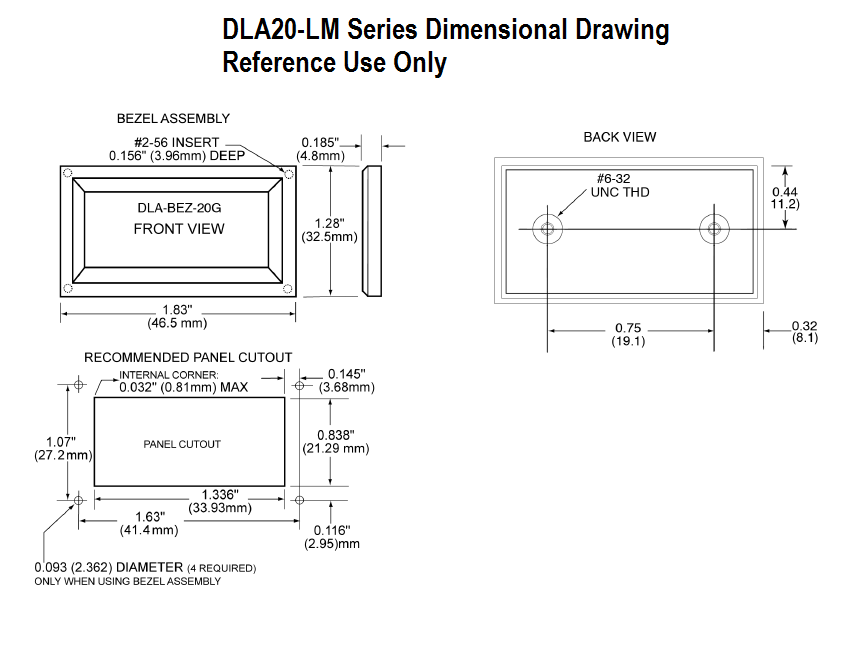 DLA20-LM Dimensional Drawing