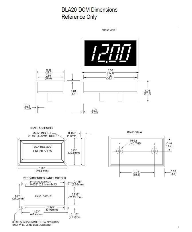 DLA20-DCM Dimensional Drawing