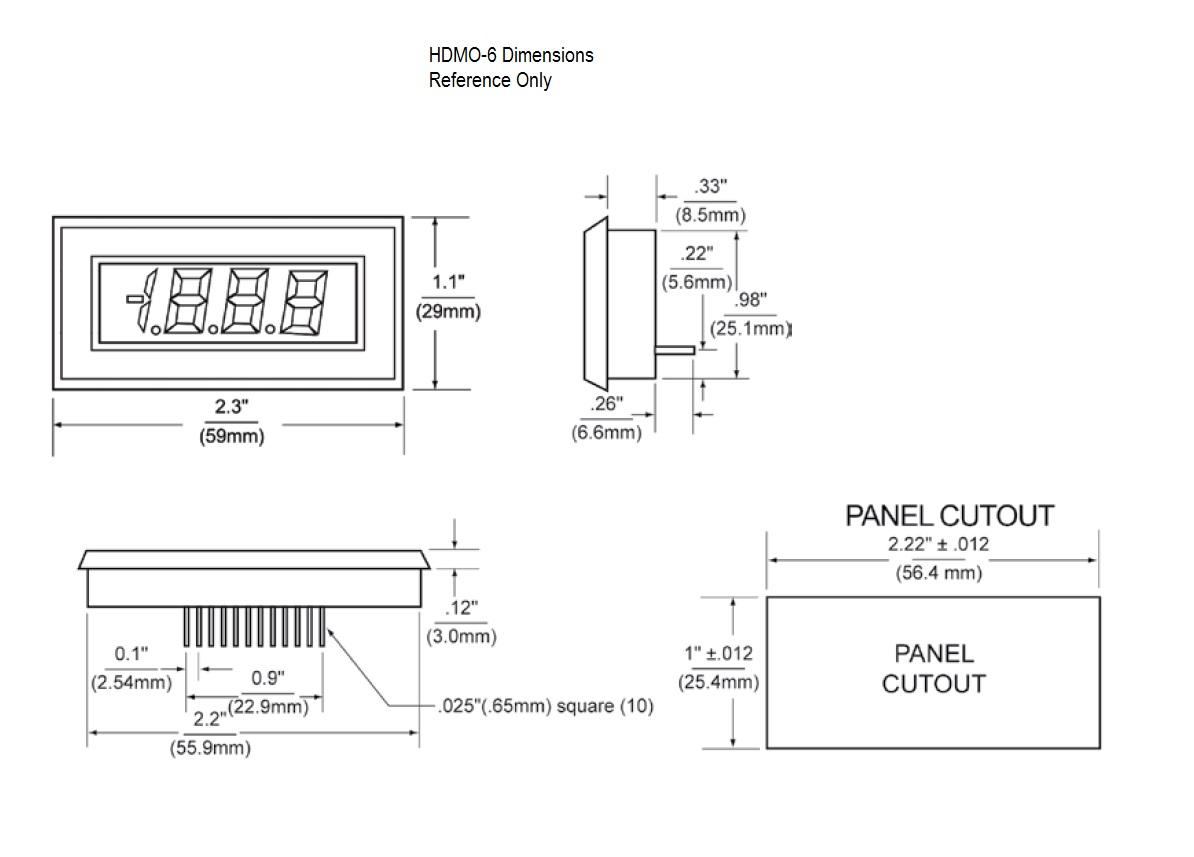 Dimensional Drawing HDMO-6 Series