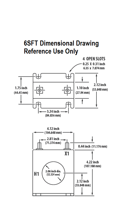 6SFT Dimensional Drawing