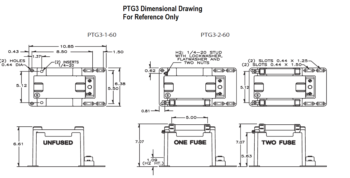 Dimensional Drawing: PTG3 Transformer