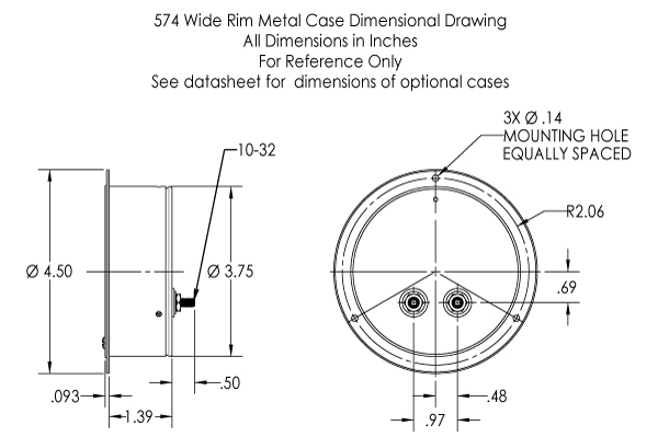 Dimensional Drawing: 574 Analog Meter