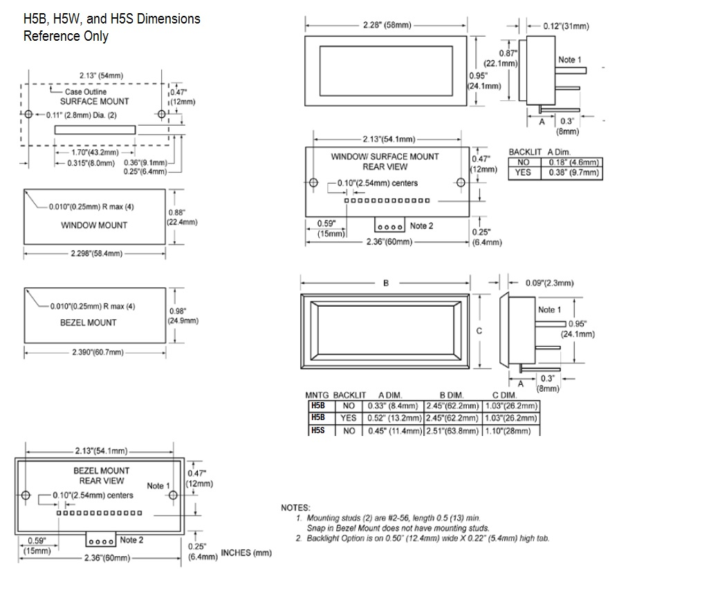 H5S/W/B Dimensions