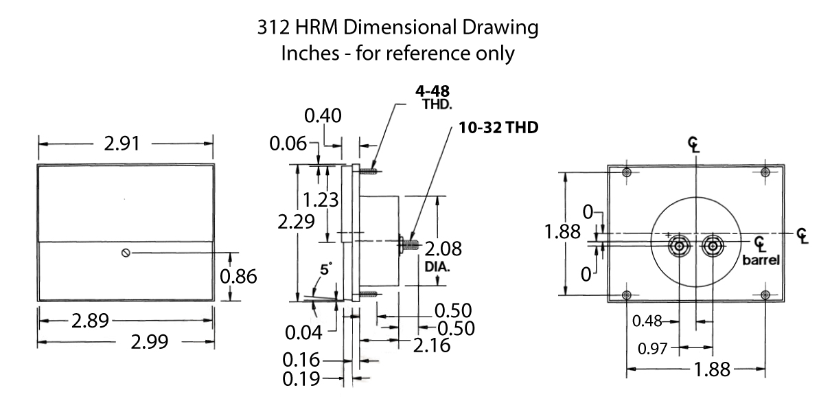 312-HRM, 312-HRD Dimensional Drawing