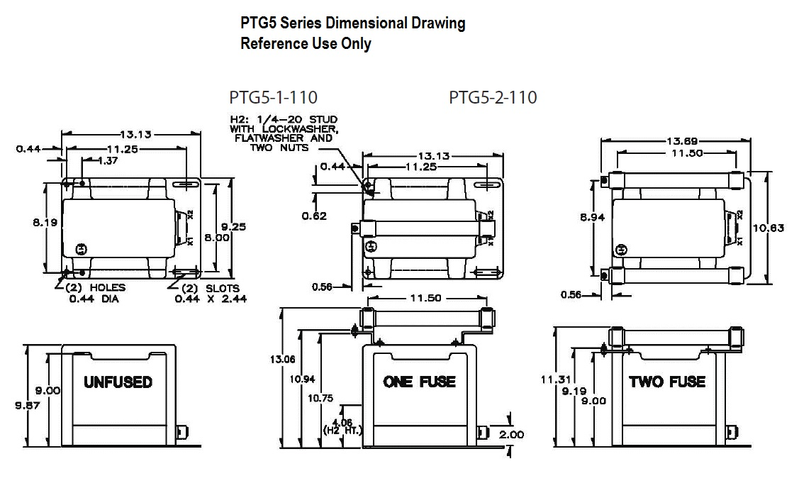 Dimensional Drawing: PTG5 Transformer