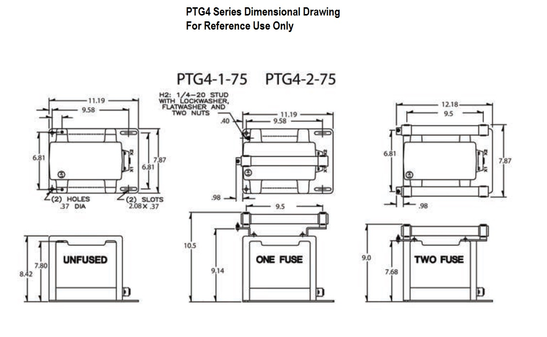 Dimensional Drawing: PTG4 Transformer