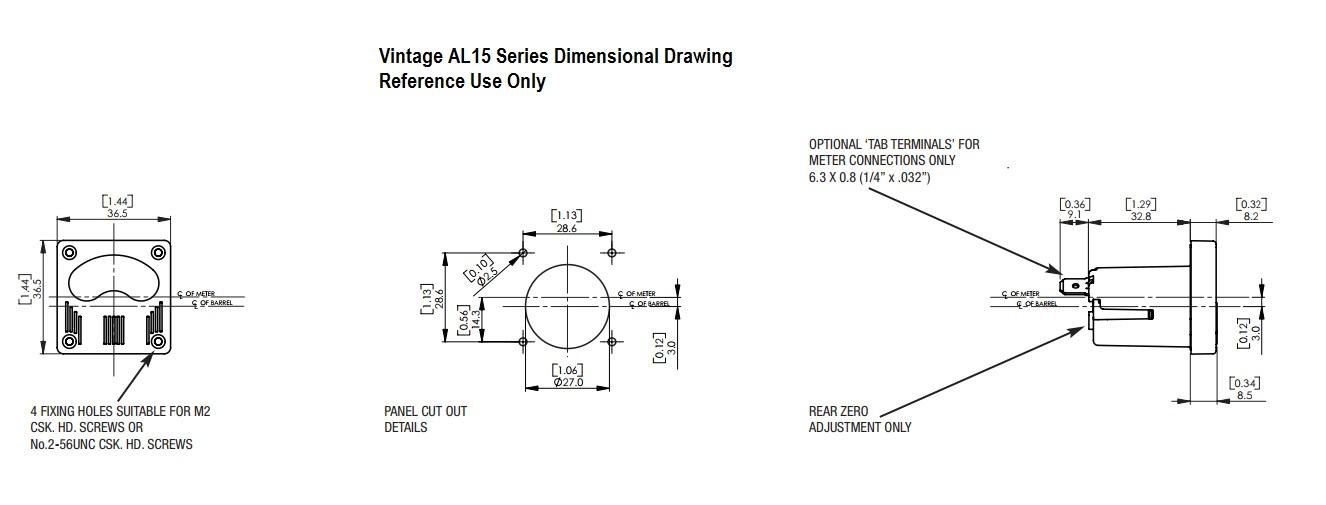 Dimensional Drawing:: AL15 VU Meter