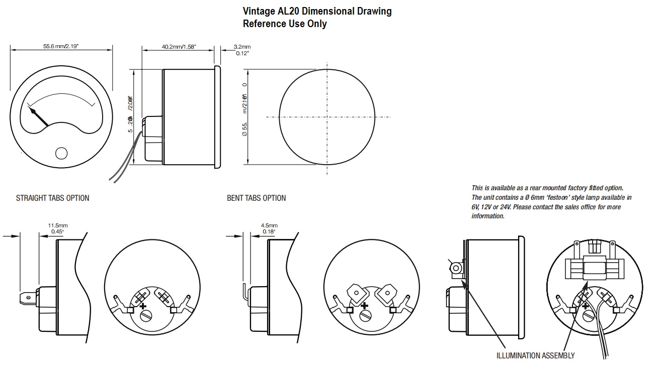 Drawing Dimensions: AL20 VU Meter