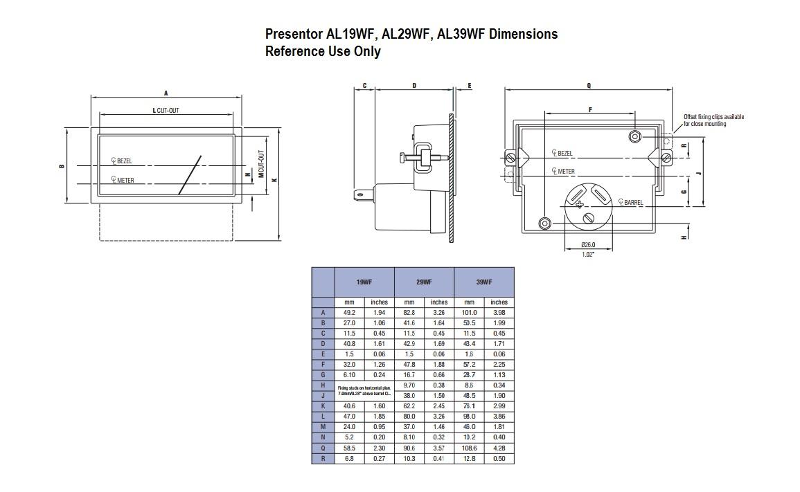 Presentor AL19WF, AL29WF, AL39WF Dimensions