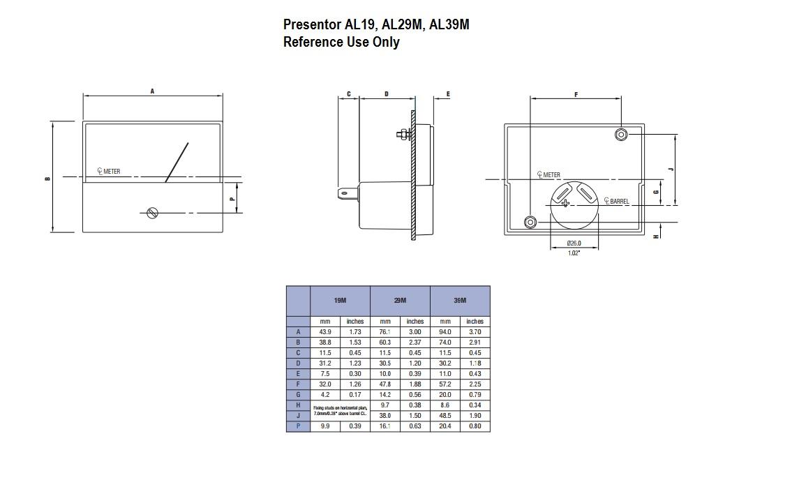 Presentor AL19M, AL29M, AL39M Dimensions