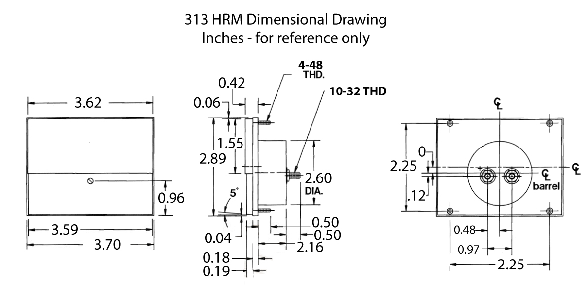 313HRM Elapsed Time Meter (Mechanical): Dimensional Drawing