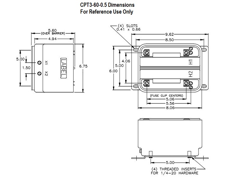 CPT3 Series Control Power Transformer: Dimensions