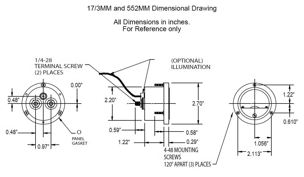 Dimensional Drawing: 17/3MM & 552MM