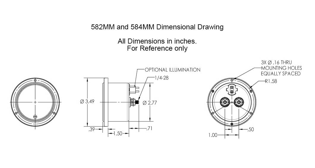 Dimensional Drawing: 582MM & 584MM