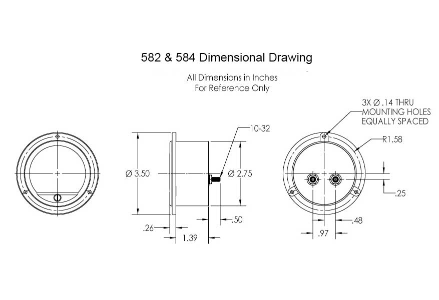 Dimensional Drawing: 582 & 584