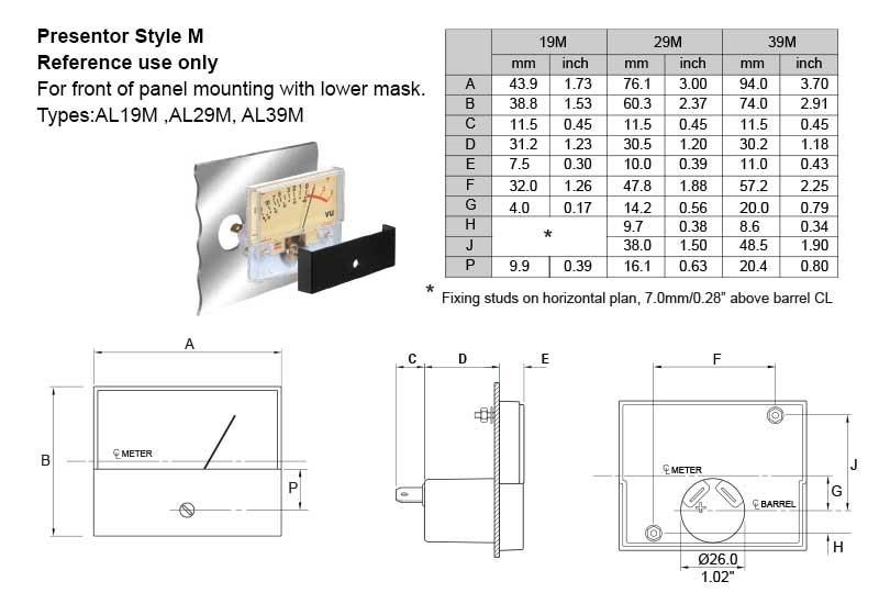 Dimensional Drawing: AL19M, AL29M, AL39M  Presentors