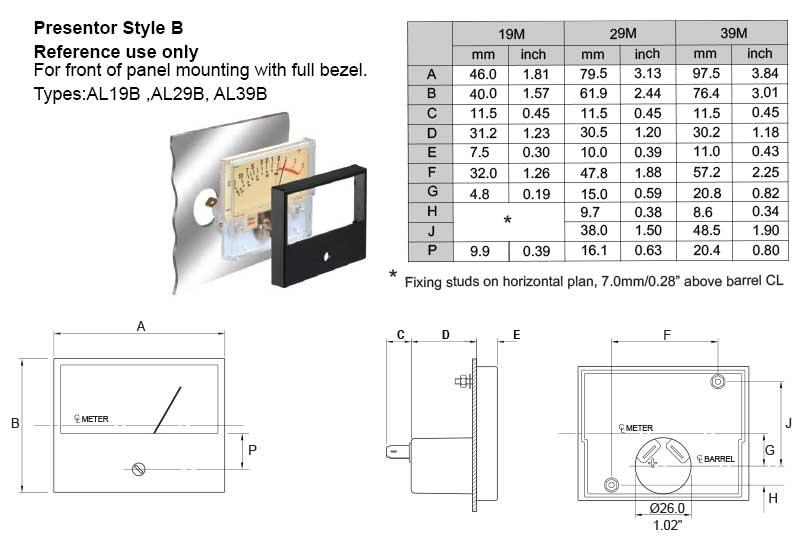 Dimensional Drawing: AL19B, AL29B, AL39B Presentors
