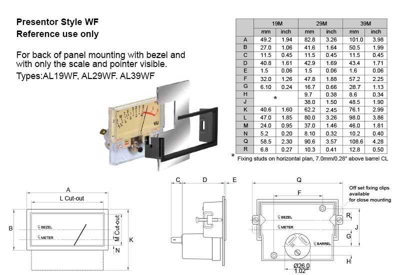 Dimensional Drawing: AL19WF, AL29WF, AL39WF Presentors